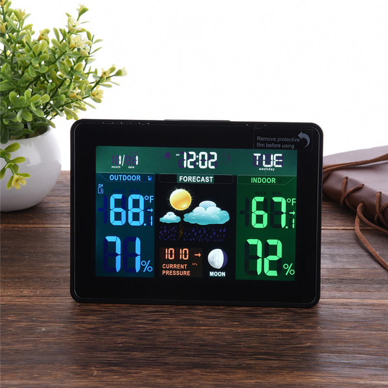 EU US Plug Wireless Color Weather Station In/Outdoor Forecast Temperature Humidity Alarm And Snooze Thermometer Hygrometer weather station digital lcd temperature humidity meter
