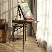 Portable Painting Easel Classic Wooden Oil Painting Palette Box with a Shoulder Strap Special For Artists Sketch Box Cavalete