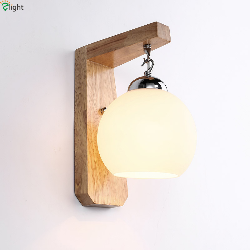 Modern Simple Solid Wood Led Wall Lamp Luminaria Lustre Glass Shades Bedroom Led Wall Lights Lamparas Led Wall Light Fixtures modern chrome metal led wall lamp lustre crystal living room led wall lights fixtures glass bedroom led wall light wall sconce