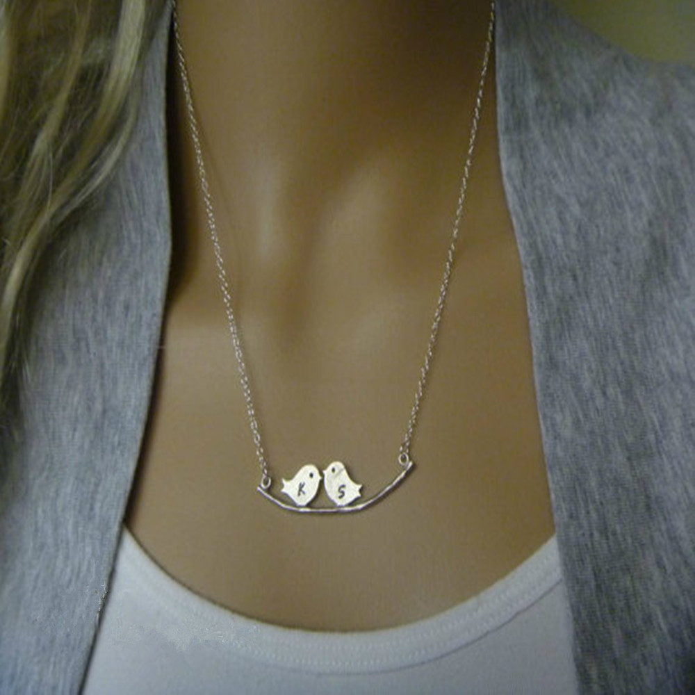 for friend item bird on in initial letter personalized birds necklace couples jewelry love from necklaces custom branch pendant best