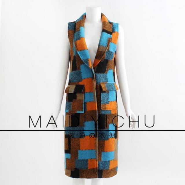 2017 new autumn and winter high-quality European and American big brand woolen geometric pattern long sections wool vest w323