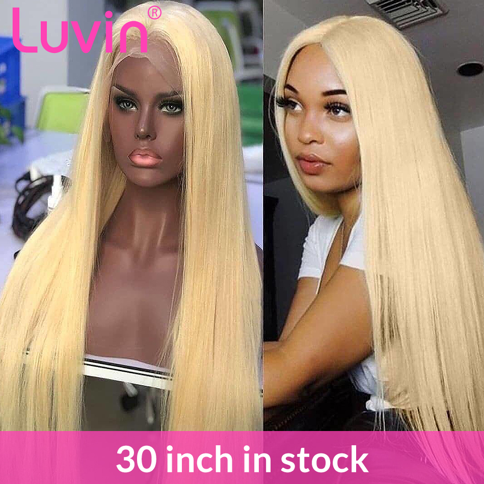 30 Inch HD Transparent 613 Blonde Lace Front Human Hair Wigs Glueless Frontal Wig Pre Plucked With Baby Hair Straight Colored