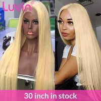 Droit 13x6 dentelle avant 8-30 pouces Remy cheveux humains perruques HD Transparent 613 Blonde sans colle frontale perruque pré plumé bébé cheveux