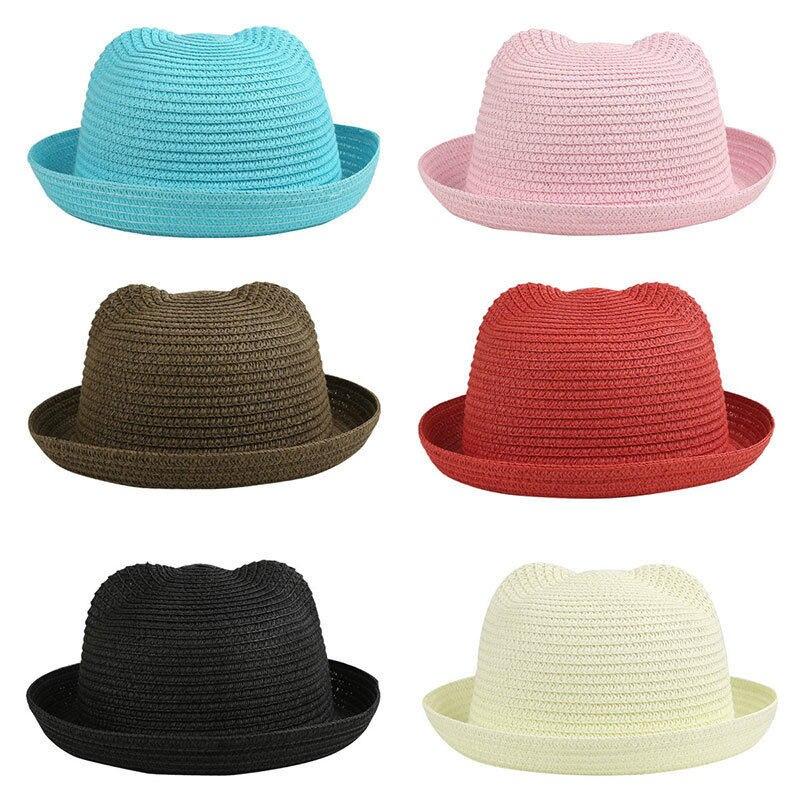 Único del gato orejas sombrero niña bebé gorras niños Sun gorras sombrero  de paja sólido muchacha de la playa del sombrero de Sun del niño casquillo  envío ... c5b822653be4