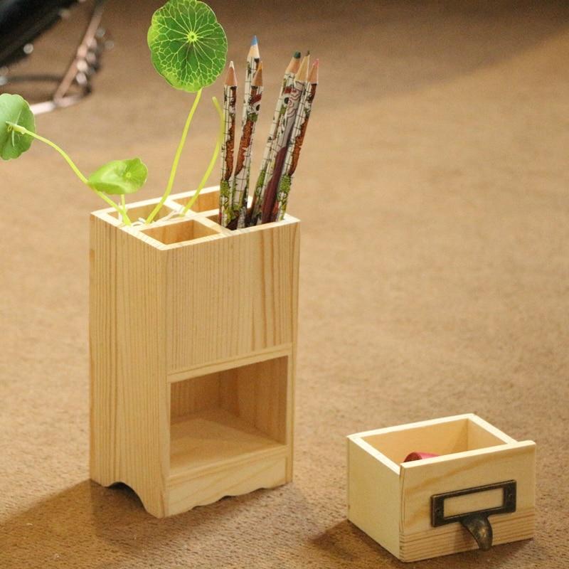 Kreative Holz Stift Container 4 Slots Storage Box Mit Schublade Multi Use  Schreibtisch Veranstalter Eco Natürliche Holz Tabelle Decor In Kreative Holz  Stift ...