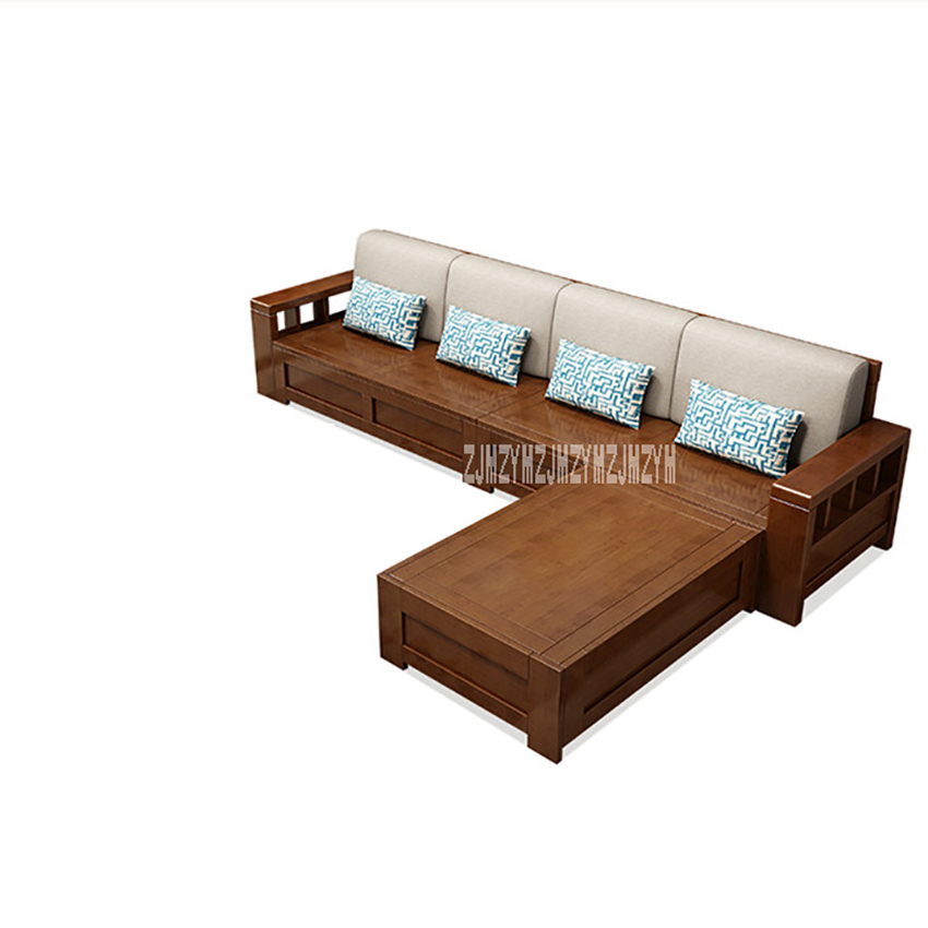 Living Room Solid Wood Sofa Combination Dual Purpose Corner Sofa Set With  Storage Function L-Shape Sectional Recliner Couch