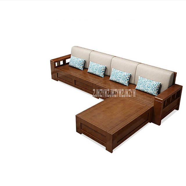 Online Shop Living Room Solid Wood Sofa Combination Dual Purpose