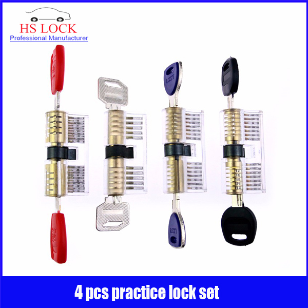 New & hot sale practice locksmith tools set 4 pcs pick training skill hot sale double cylinder kaba a full practice locksmith tools with 4 keys black