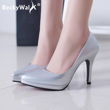 Spring Summer Pumps Women Shoes High Heels Patent Leather Of