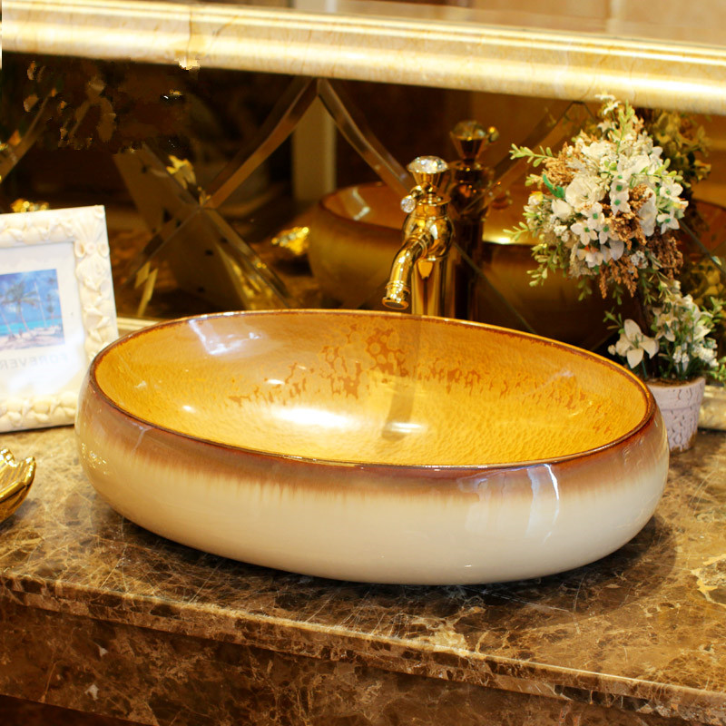 Colourful Glazed porcelain bathroom vanity bathroom sink bowl countertop Oval Ceramic wash basin bathroom sink