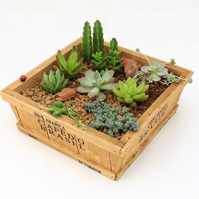 ZAKKA Wood Retro do old Square Flower Pots meaty plant woody floral organ