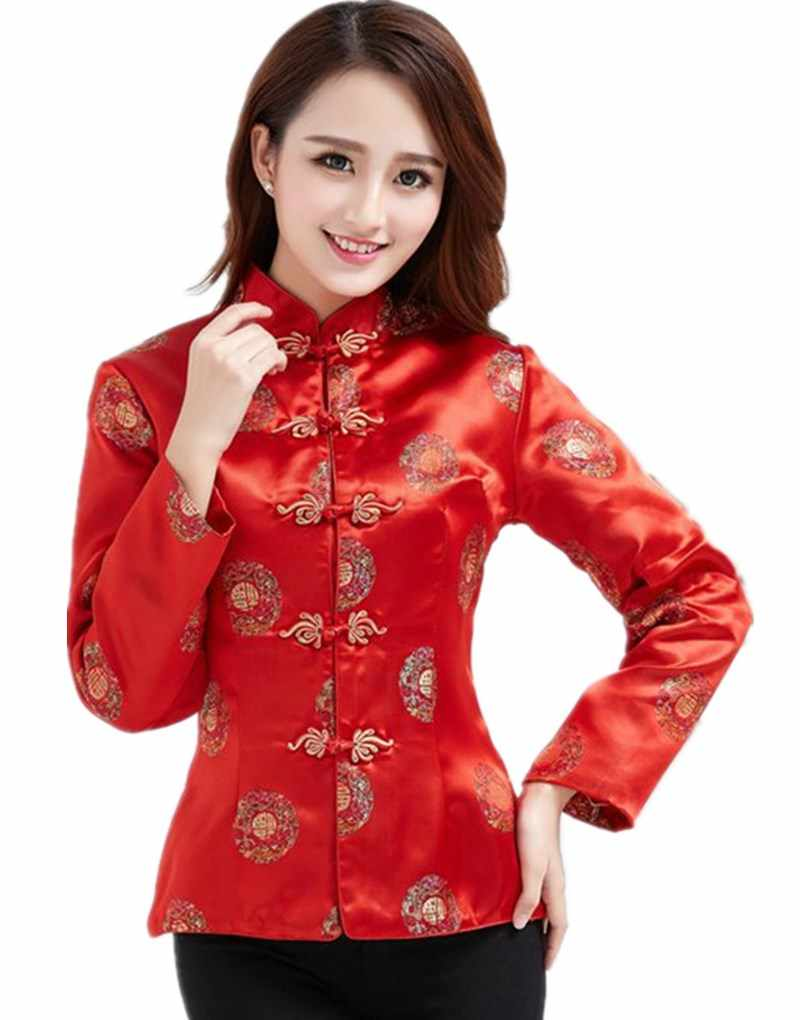 Shanghai Cerita Naga Bordir Cheongsam Kemeja Qipao Top Lengan Panjang Tradisional Cina Top Blus untuk Wanita