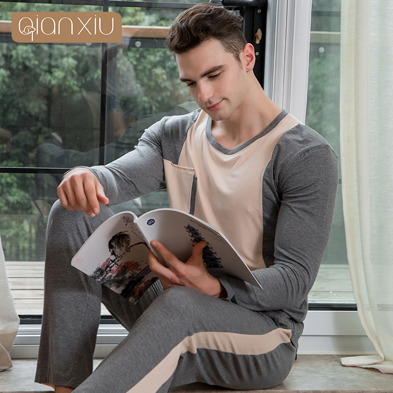 AQianxiu Pajamas For Men Modal Patchwork Set Long-sleeve Lounge Wear Casual Homewear 914 ...