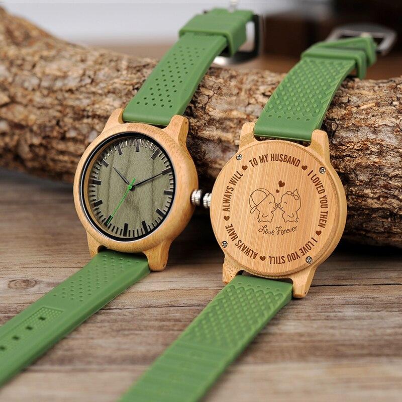 Деревянные часы с гравировкой и вашим логотипом, Мужские кварцевые наручные часы с силиконовым ремешком, лучший подарок для мужа, подарок на день рождения