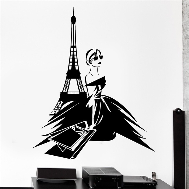Wall decal paris france sexy girl shopping eiffel tower vinyl decal in wall s - Stickers muraux paris ...