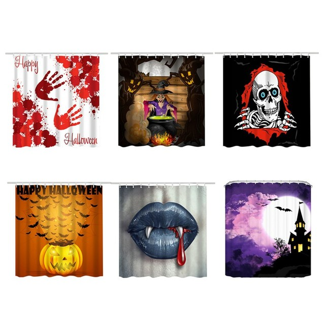 Halloween Shower Curtain Blood Hand Printing Bath Waterproof Mildew Resistant Fabric Set Bathroom Supply