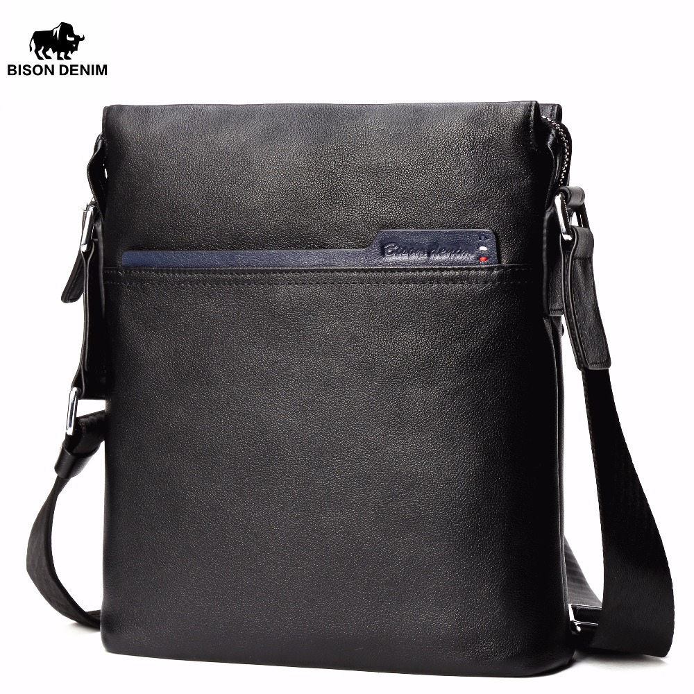 BISON DENIM 100% Genuine Leather Men Messenger Bag Casual Crossbody Bag Business Men's Bags For Gift Shoulder Bags Men N2713-1B bison denim genuine leather men s bag business shoulder crossbody bag christmas gift designer handbags high quality n2333 1