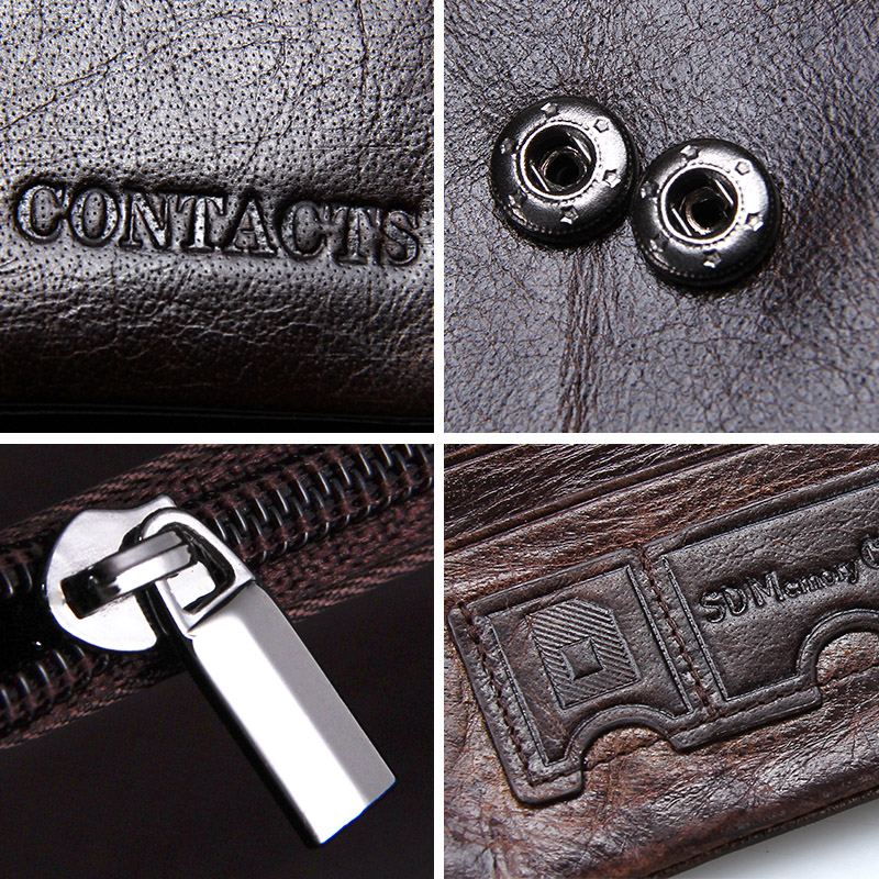 CONTACT'S 100% Genuine Leather Men's Wallet Hasp Design Vintage Men Wallets Coin Purse Short Male Wallet Man Portomonee Walet 5