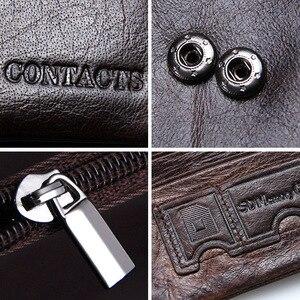 Image 5 - CONTACTS 100% Genuine Leather Mens Wallet Hasp Design Vintage Men Wallets Coin Purse Short Male Wallet Man Portomonee Walet