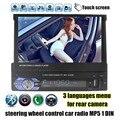 Hot 1 Din Radio Del Coche de Audio Estéreo de 7 pulgadas MP5 Mp4 Aux/USB/TF/FM/pantalla táctil/bluetooth menú 3 idiomas auto vídeo
