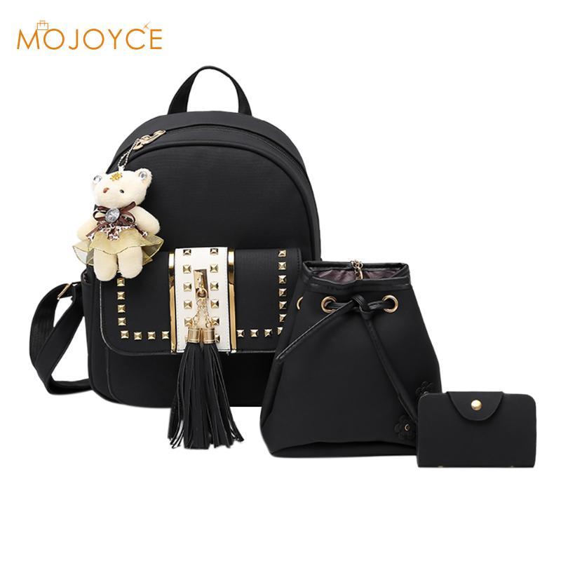 fd5748e9ab New Design Tassel Women Backpack Mochila PU Leather Rivet Backpack for Girls  Female School Shoulder Bag
