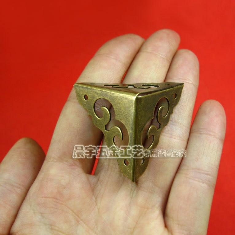8cm Furniture Accessories Furniture Decoration Brass Metal Wrap Angle  Hardware Corners Box Corners 4pcs/lot Free Shipping