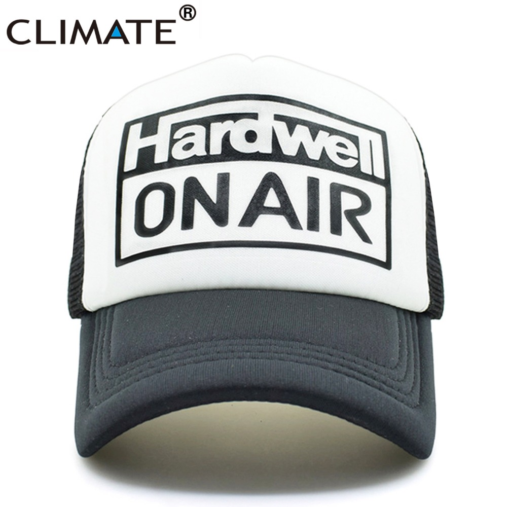 CLIMATE Men Women Summer Cool Mesh Cap Remix Music DJ HARDWELL On Air Fans Cool Baseball Mesh Summer Net Trucker Caps Hat Fans climate men summer black mesh caps star wars bounty hunter fans cool summer baseball cap black net trucker caps hat for men