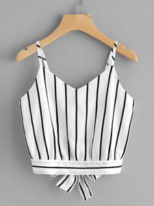 Feitong Bow-Vest Cami Tank-Tops Spaghetti-Strap Tie-Back Cropped Knot Striped Sexy Women