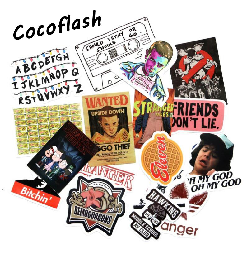 19pcs/Lot Stranger Thing Cartoon Graffiti Stickers For Laptop Sticker Decal Fridge Skateboard PVC Toy Stickers For Travel Gifts