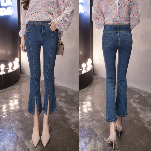 daaef63655d7e 2018 Spring Summer Vintage High Elastic Jeans Women Office Lady Sexy Wide  Leg Split Denim Casual Flare Pants Fashion Trousers