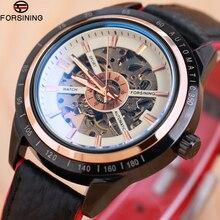 オートバイデザイン透明本赤黒ベルト防水スケルトン男性自動腕時計forsiningトップブランドの高級時計