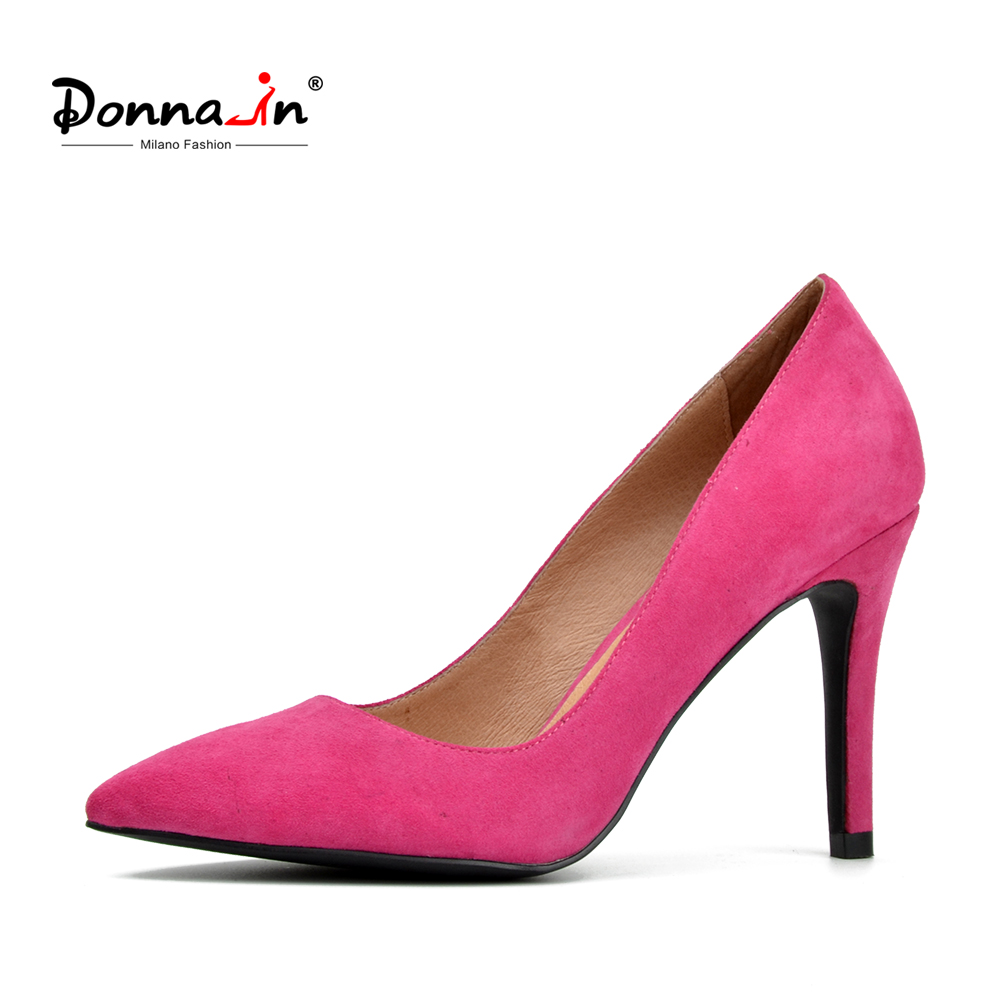 Donna-in women calf leather pumps high heel pumps fashion party thin heels kid suede pointed shoes ladies shoes universe high heels pumps genuine leather women shoes ladies shoes natural kid suede 6 5cm thin heel party shoes for women h030