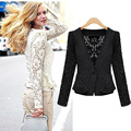 New European and American women's lace cardigan jacket hollow lace short coat female