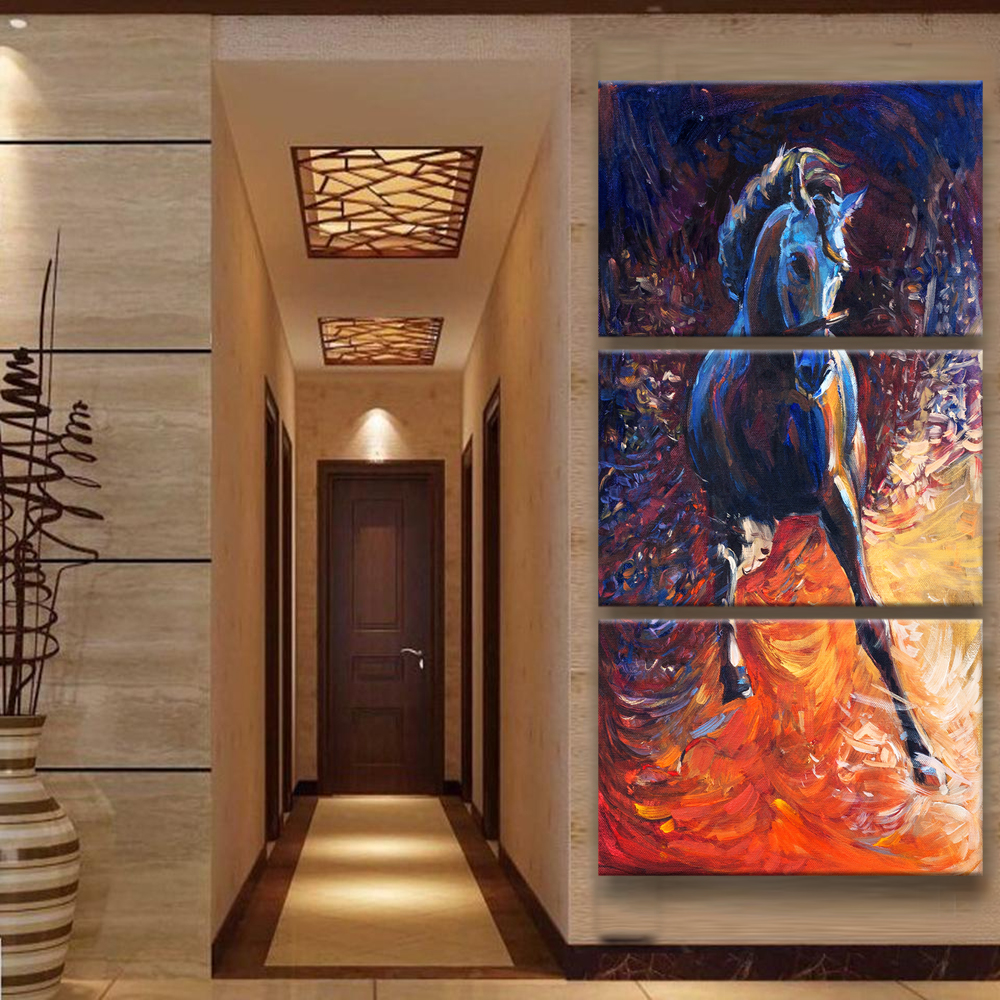 Frame 3 Panel Horse Modular Pictures Painting Canvas Art Paintings Wall Decor High Quality in Painting Calligraphy from Home Garden
