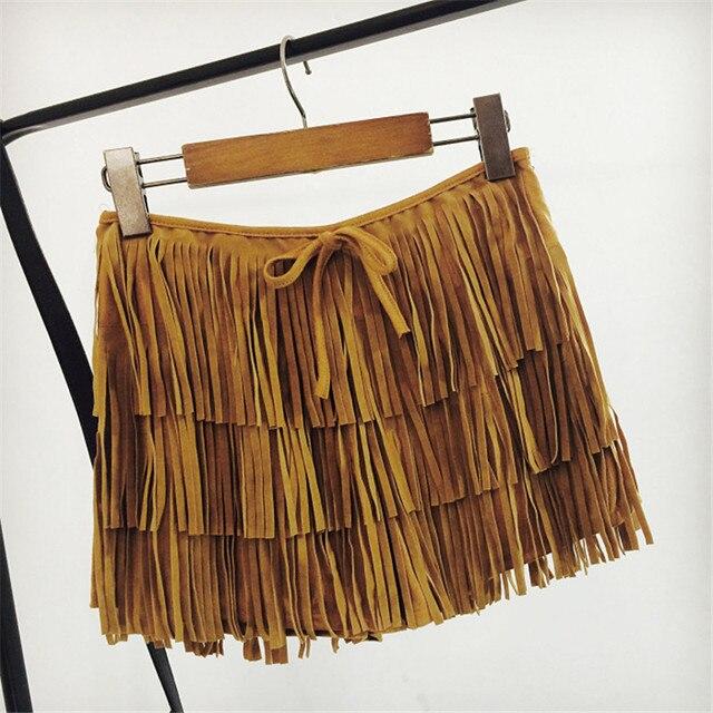 2017 Été Nouveau Style Bohème Bordées jupe Short Taille Haute En Daim  Pantalon court avec le
