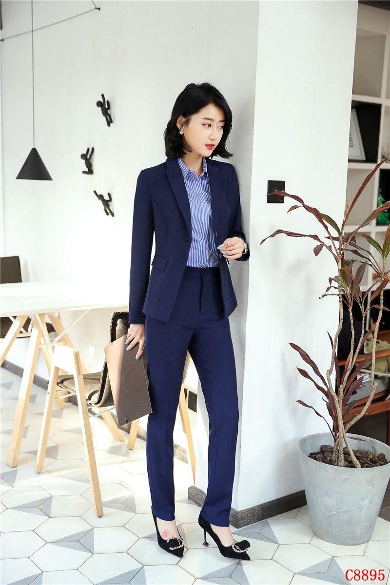 Costumes D'affaires Femmes Uniforme Bureau Noir Bleu Et Pour Formelles Veste Blazer marine Conceptions Dames Ensemble Pantalons qXwIW4