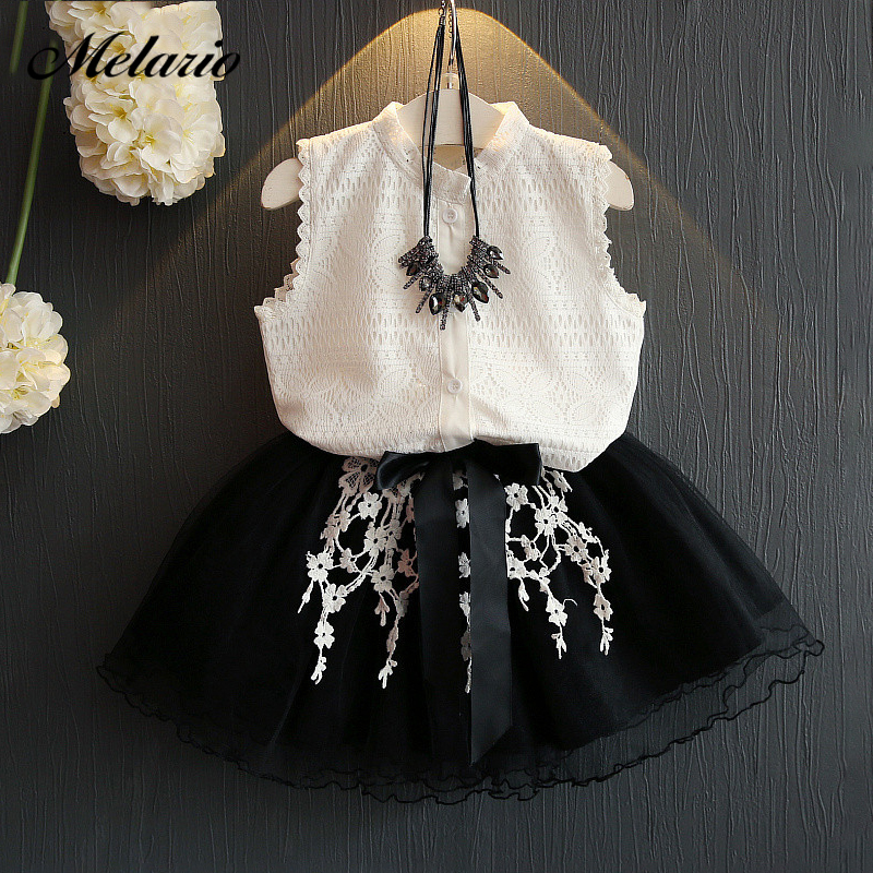 Kids baby Girls Clothing Sets 2019 New Summer Fashion Style Cartoon Kitten Printed T-Shirts+Net Veil Dress 2Pcs Girls Clothes