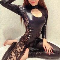 Moda mujeres Sexy Lingerie Catsuit Lace Up Negro Patchwork Bodycon Mono Mono corto Mameluco Peluches Body