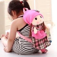 45cm Cartoon Pretty Colored plaid doll backpacks plush toys bags stuffed dolls for girls