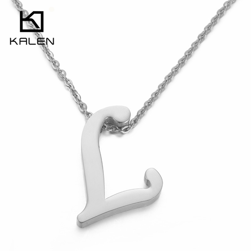 kalen capital letter l pattern pendant necklaces women men stainless steel english name initial letter l
