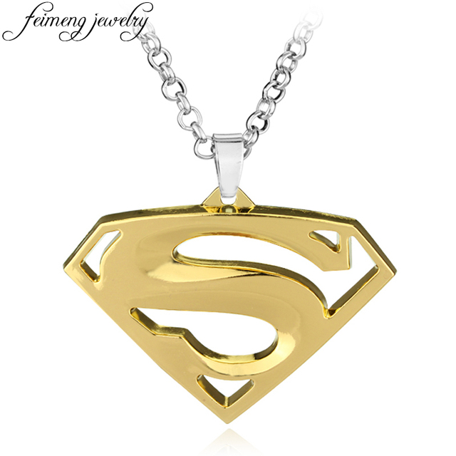 Feimeng Jewelry Super Hero Superman Necklace High Quality Golden