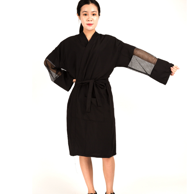 Polyester And Cotton Material Hairdressing Kimono With Sleeve Comfortable Guest Robe KM-031 High Class For Household And Hotel