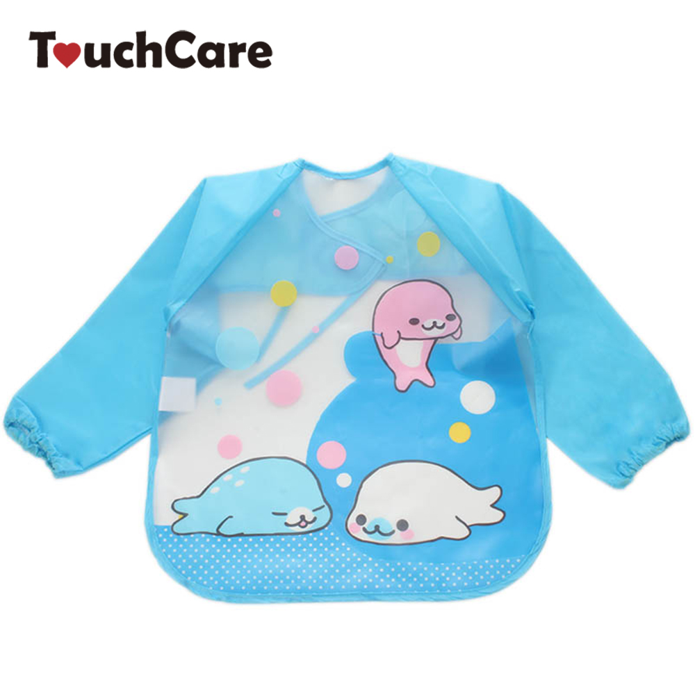 Cute Cartoon Colorful Baby Bibs Long Sleeve Art Apron Animal Smock Children Bib Burp Clothes Soft Feeding Eat Toddle Waterproof 2 layers newborn cartoon colorful baby boy girl bibs infant soft cotton toddler animal burp cloth waterproof saliva scarf towel