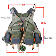 Army Green Fishing Multi Function Adjustable Mesh Vest With Multi-Pocket Outdoor Fly Fishing Vest
