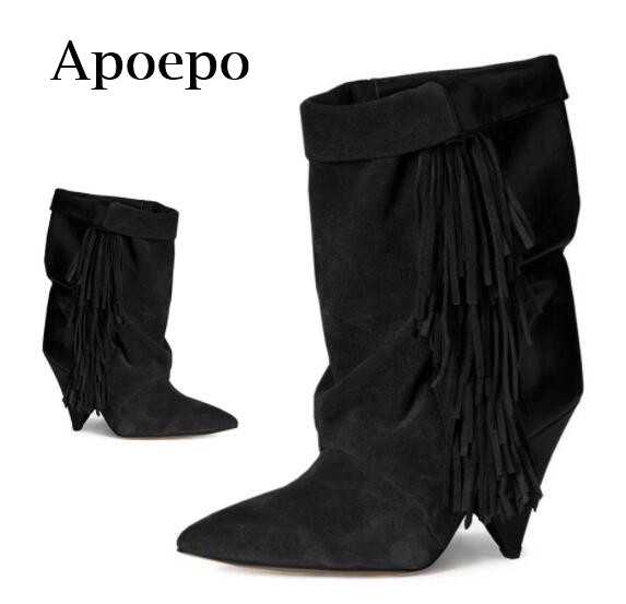 Apoepo Brand 2018 Newest Suede Fringed Ankle Boots Pointed Toe Woman High Heel Boots Spike Heels Black Riding boots 35-42
