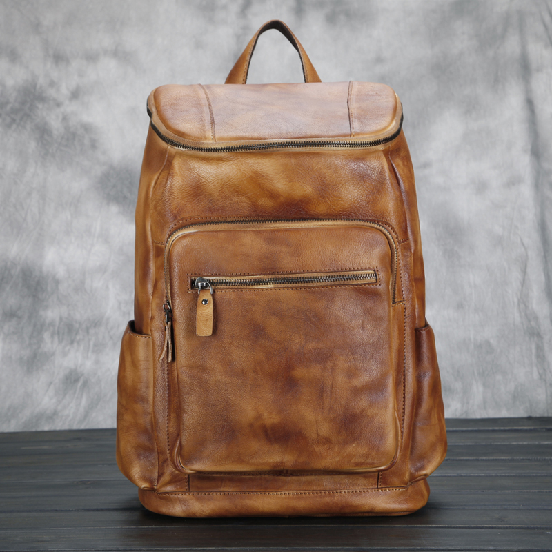 afbc3a5f13ed US $115.36 17% OFF|Men's Women's Unisex Fashion Genuine Cowhide Leather  Backpack Shoulders Bag Bookbags Satchel Brown school books bags 034-in ...