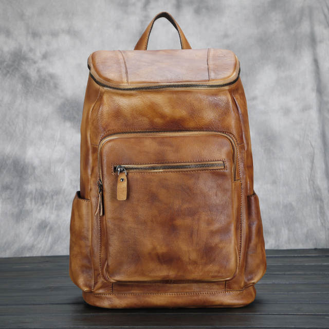 81c7afd42e1 Men's Women's Unisex Fashion Genuine Cowhide Leather Backpack ...