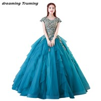 vestido 15 anos 2019 Plus Size Quinceanera Dresses Turquoise Capped Sleeve Dress 15 Years Ball Gowns ball kleider Free Shipping