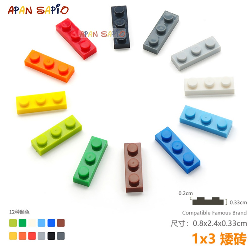 40pcs/lot DIY Blocks Building Bricks Thin 1X3 Educational Assemblage Construction Toys For Children Size Compatible With Lego