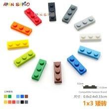 40 adet/grup DIY blokları bina tuğla ince 1X3 eğitim birimi inşaat oyuncakları çocuklar için lego ile uyumlu